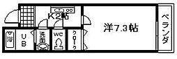 フジパレス下池田パセオ[6号室]の間取り
