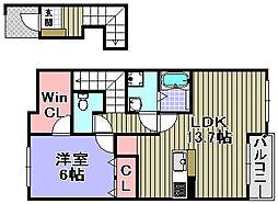 ミゾノカワB棟[203号室]の間取り