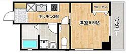 ひがわアパート 4階1Kの間取り