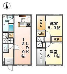 愛知県清須市西田中松本の賃貸アパートの間取り
