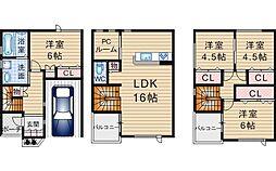 [テラスハウス] 大阪府豊中市曽根西町2丁目 の賃貸【/】の間取り