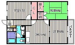 フィルコート東羽倉崎[3階]の間取り
