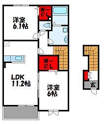 福岡県遠賀郡芦屋町白浜町の賃貸アパートの間取り