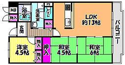 メゾンドール富田林[3階]の間取り