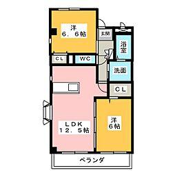ドゥーフレール加藤[3階]の間取り