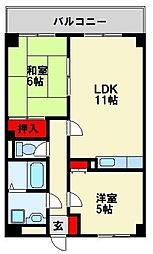 福岡県中間市中尾1丁目の賃貸アパートの間取り