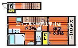 JR山陽本線 東岡山駅 徒歩11分の賃貸アパート 2階1Kの間取り