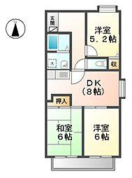 愛知県稲沢市稲島東2丁目の賃貸マンションの間取り