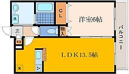 兵庫県神戸市灘区城内通4丁目の賃貸アパートの間取り