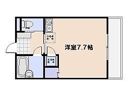 (仮)三宅プレジャーコーポ 2階ワンルームの間取り