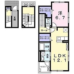 ヴィラ・エスペランサ 3階1LDKの間取り