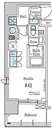 東京メトロ有楽町線 新富町駅 徒歩6分の賃貸マンション 3階ワンルームの間取り