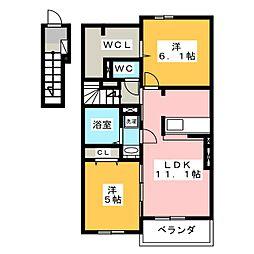 グランノワールB[2階]の間取り