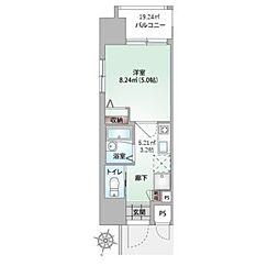 沖縄都市モノレール 牧志駅 徒歩3分の賃貸マンション 5階1Kの間取り