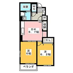 フィオーレ・タチバナA 1階2DKの間取り