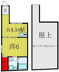 JR山手線 田端駅 徒歩15分の賃貸マンション 4階1Kの間取り