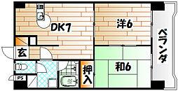 福岡県北九州市八幡西区熊西2丁目の賃貸マンションの間取り