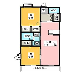 ヴィスタルージュ[4階]の間取り