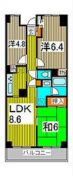 ツインズ浦和[4階]の間取り
