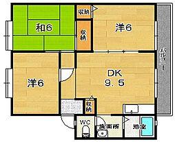大阪府茨木市南耳原1丁目の賃貸アパートの間取り