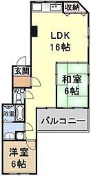 ヌーベル花ノ岡[203号室号室]の間取り