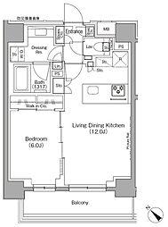 東京メトロ有楽町線 月島駅 徒歩1分の賃貸マンション 9階1LDKの間取り