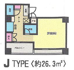 オリエンタル黒崎 8階ワンルームの間取り
