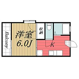 千葉県千葉市若葉区貝塚1丁目の賃貸アパートの間取り