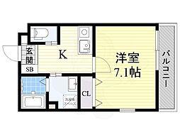 エムステージ矢田2B 1階1Kの間取り