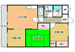 ディアコート藤井寺[1階]の間取り