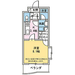 Clover Tsukiya[1階]の間取り