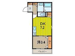 グランビューノ浦和[2階]の間取り