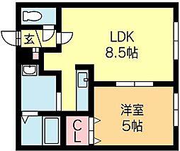 北海道札幌市北区北十五条西3丁目の賃貸アパートの間取り