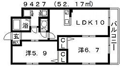 ガーデンコート丹南[201号室号室]の間取り