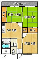 ハイネス上田[3階]の間取り