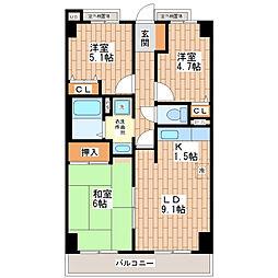 シェモア平野駅前[202号室]の間取り