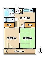 東京都府中市西府町3丁目の賃貸マンションの間取り