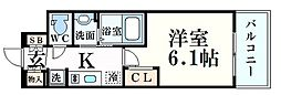 阪急神戸本線 春日野道駅 徒歩3分の賃貸マンション 2階1Kの間取り