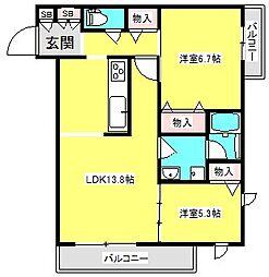 アンファンボヌール 3階2LDKの間取り