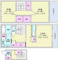 JR東北本線 岩沼駅 徒歩20分の賃貸アパート 2階2LDKの間取り
