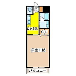 広島県東広島市西条中央 6丁目の賃貸マンションの間取り