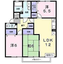 宮崎県宮崎市下北方町の賃貸アパートの間取り