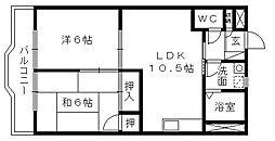シャトー飯田1号・2号[3階]の間取り