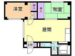 LOU菊水元町 4階2LDKの間取り