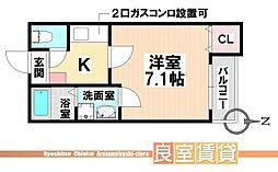 愛知県名古屋市南区鳴浜町2丁目の賃貸アパートの間取り