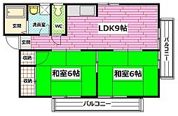 広島県安芸郡府中町鹿籠2丁目の賃貸アパートの間取り