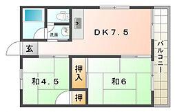 七里ハイツ[1階]の間取り