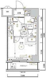 LUMEED川崎 5階1Kの間取り