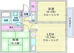JR東北本線 館腰駅 徒歩12分の賃貸アパート 2階2LDKの間取り