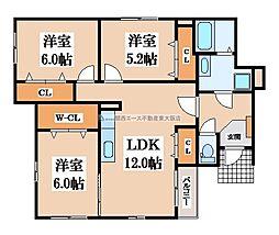大阪府東大阪市日下町2丁目の賃貸アパートの間取り